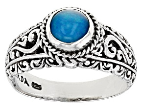 Blue Opal Sterling Silver Ring 6mm