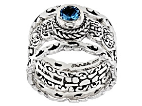 Blue Topaz Sterling Silver Set of 3 Rings 0.55ct