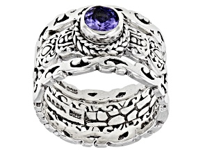 Tanzanite Rhodium Over Sterling Silver Set of 3 Rings 0.29ctw