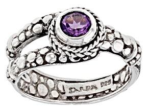 Purple Amethyst Sterling Silver Ring 0.38ct