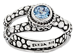 Blue Topaz Rhodium Over Sterling Silver Ring 0.55ct
