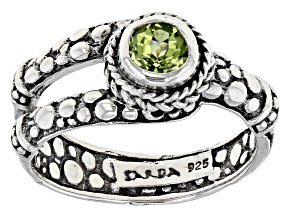 Green Peridot Rhodium Over Sterling Silver Ring 0.51ct
