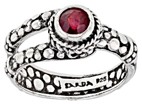 Red Ruby Rhodium Over Sterling Silver Ring 0.60ct