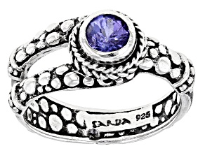 Blue Tanzanite Rhodium Over Sterling Silver Ring 0.29ct