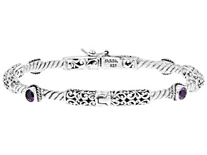 Purple Amethyst Rhodium Over Sterling Silver Bracelet 0.2ct