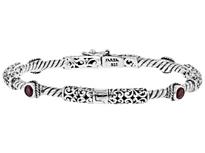 Red Mahaleo(R) Ruby Rhodium Over Sterling Silver Bracelet 0.32ct