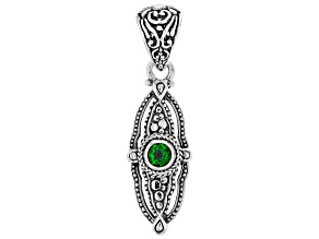 Green Chrome Diopside Rhodium Over Sterling Silver Pendant 0.47ct