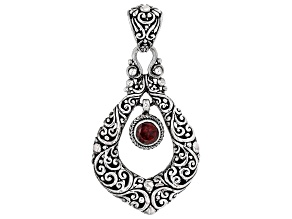 Red Garnet Rhodium Over Sterling Silver Pendant 0.84ct
