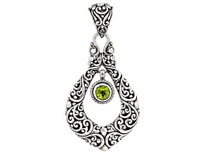 Green Peridot Rhodium Over Sterling Silver Pendant 0.85ct