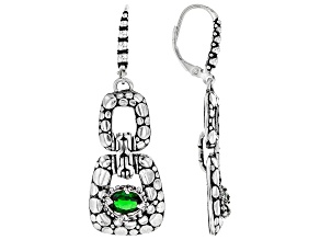 Green Chrome Diopside Rhodium Over Sterling Silver Earrings 0.75ct