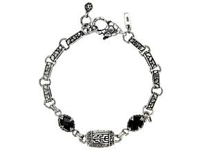 Black Spinel Sterling Silver Station Bracelet 1.28ctw