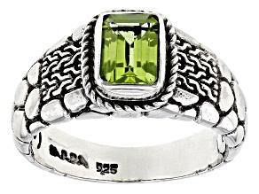 Green Peridot Rhodium Over Silver Ring 0.86ct