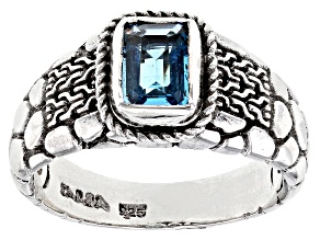 Blue Topaz Rhodium Over Sterling Silver Ring 0.80ct