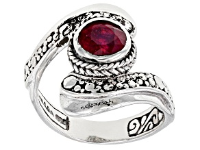 Red Ruby Silver Bypass Ring 1.59ct