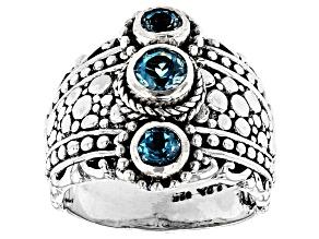 Blue Topaz Silver 3 Stone Ring 0.77ctw