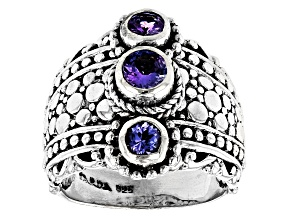 Blue Tanzanite Rhodium Over Silver 3 Stone Ring 0.52ctw
