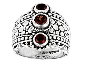 Red Garnet Silver 3 Stone Ring 0.76ctw