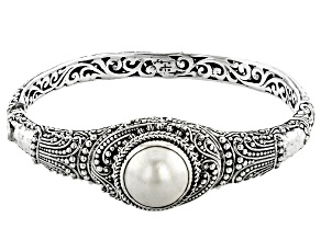 White Mabe Pearl Rhodium Over Sterling Silver Bracelet 15mm