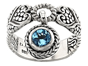 Blue Topaz Sterling Silver Charm Ring .55ct