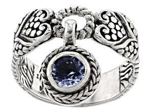 Blue Tanzanite Silver Charm Ring .29ct