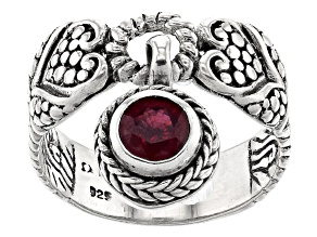 Red Ruby Sterling Silver Charm Ring 0.60ct
