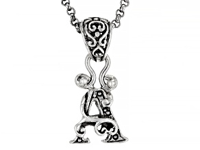 """Sterling Silver Initial """"A"""" Pendant With 18"""" Chain"""