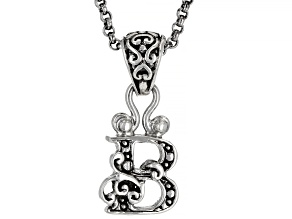 """Sterling Silver Initial """"B"""" Pendant With 18"""" Chain"""