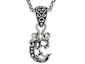 """Sterling Silver Initial """"C"""" Pendant With 18"""" Chain"""