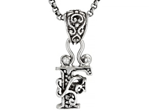 """Sterling Silver Initial """"F"""" Pendant With 18"""" Chain"""