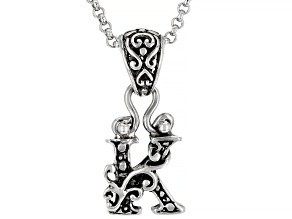 "Sterling Silver Initial ""K"" Pendant With 18"" Chain"