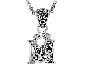 "Sterling Silver Initial ""M"" Pendant With 18"" Chain"