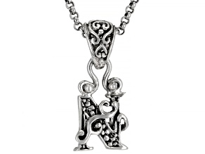 "Sterling Silver Initial ""N"" Pendant With 18"" Chain"
