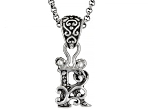 "Sterling Silver Initial ""R"" Pendant With 18"" Chain"
