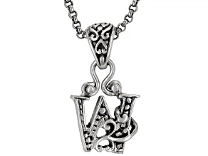 """Sterling Silver Initial """"W"""" Pendant With 18"""" Chain"""