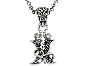"Sterling Silver Initial ""X"" Pendant With 18"" Chain"