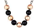 Womens 18mm Round Black Onyx Italy Stainless Two-Tone Steel 20 inches Necklace