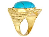 18x13mm Blue Turquoise Gold Stainless Steeloval Solitaire Ring