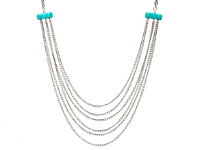 Blue Turquoise Stainless Steel Necklace