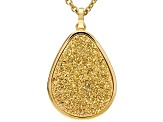 Golden Color Drusy Quartz Gold Tone Stainless Steel Pendant With Chain