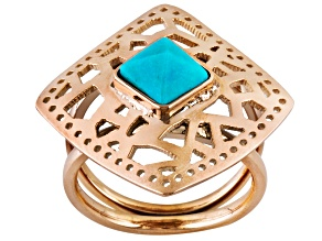 Blue Turquoise Rose Tone Stainless Steel Ring