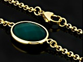 Green Onyx Gold Tone Stainless Steel Necklace