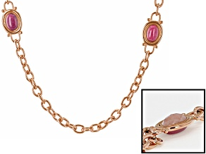 Pink Rhodonite Rose Tone Stainless Steel Necklace 17.00ctw