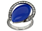 Blue Onyx And Manmade Swarovski Crystal Stainless Steel Ring
