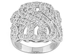 White Topaz Stainless Steel Ring 2.11ctw