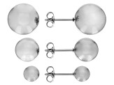 Stainless Steel Ball Stud Earrings Set Of 3 Pairs