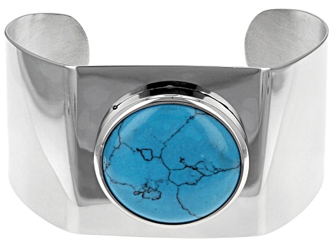 Blue Magnesite Stainless Steel Cuff Bracelet