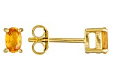Yellow Sapphire 18k Yellow Gold Over Sterling Silver Earrings .58ctw