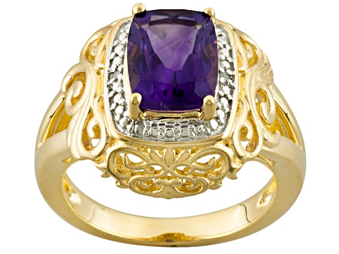 Purple Amethyst And White Diamond 18k Yellow Gold Over Silver Ring 1.94ctw
