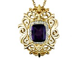 Purple Amethyst 18k Yellow Gold Over Silver Pendant With Chain 2.66ctw