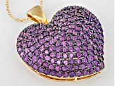 Purple Amethyst 18k Yellow Gold Over Sterling Silver Heart Pendant With Chain